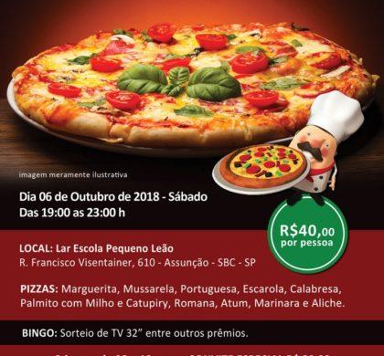 33º Noite da Pizza Beneficente – Venha comemorar o mês da Criança e o Aniversário do Lar Pequeno Leão